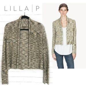 Lilla P Cropped Cardigan Sweater Metallic, Marled